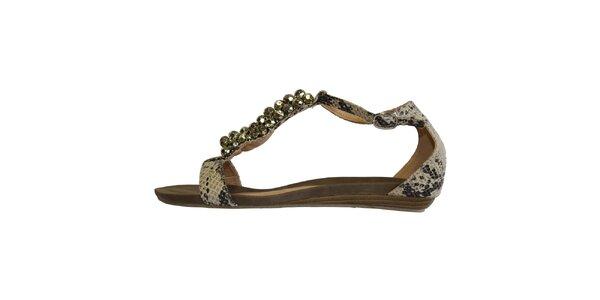 Dámské béžové sandálky s hadím povrchem a lesklými kuličkami Vanelli