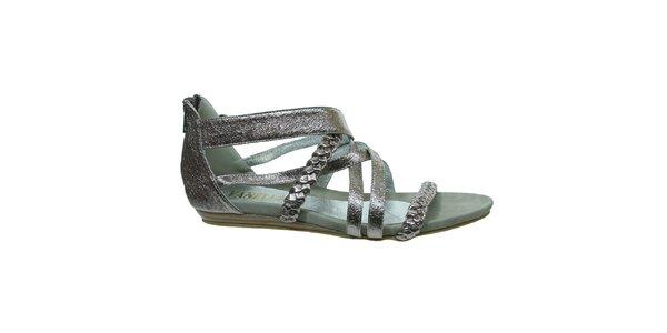 Dámské stříbrné metalické sandálky s copánkovými pásky Vanelli