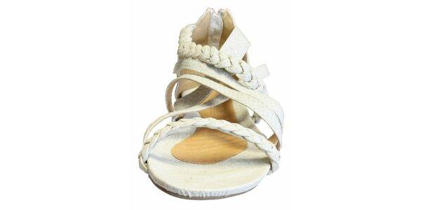 Dámské bílé sandálky s copánkovými pásky a hadím vzorem Vanelli