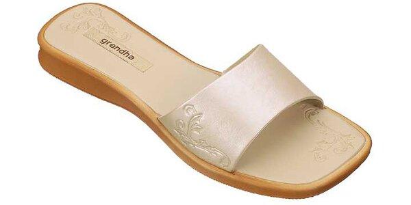 Dámské krémové pantofle Grendha s ornamentálním vzorkem