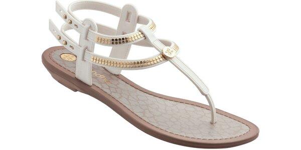 Dámské bílé sandále Grendha se zlatými aplikacemi