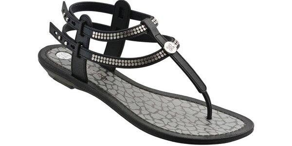Dámské černé sandále Grendha se stříbrnými aplikacemi