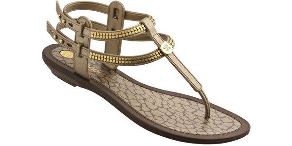Dámské zlaté sandále Grendha se zlatými aplikacemi