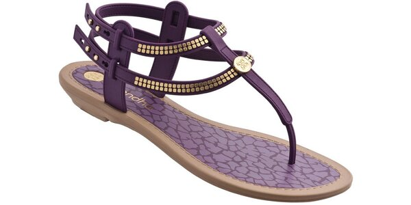 Dámské fialové sandále Grendha se zlatými aplikacemi