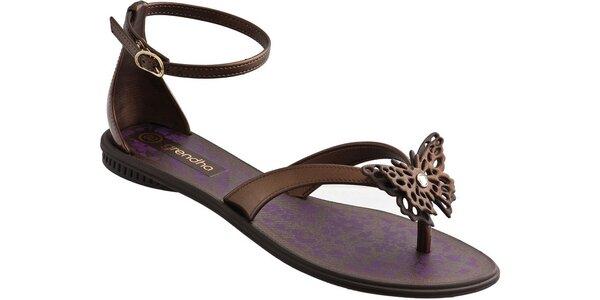 Dámské světle hnědé sandále Grendha s motýlkem