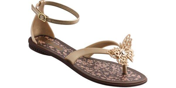 Dámské zlaté sandále Grendha s motýlkem