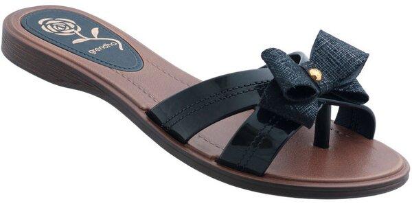 Dámské černé pantofle Grendha s mašličkou