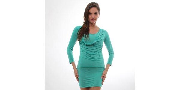 Dámské zelené šaty s vodovým předním dílem S...with Swarovski