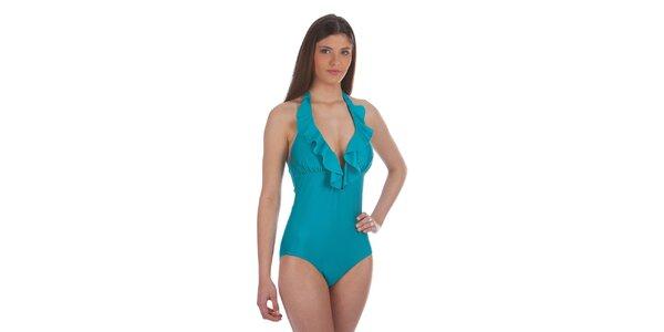 Dámské tyrkysové jednodílné plavky s volánky Cristian Lay