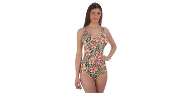 Dámské oranžovo-zelené jednodílné plavky s květinovým potiskem Cristian Lay 71ec22e61d
