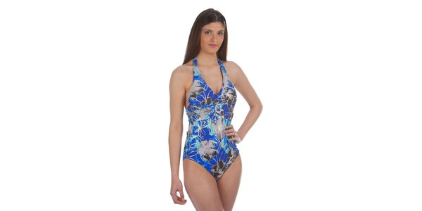 Dámské šedo-modré jednodílné plavky Cristian Lay s ozdobnou sponou