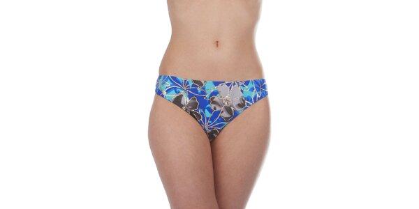 Dámské modro-černé plavkové kalhotky Cristian Lay s havajskými květy