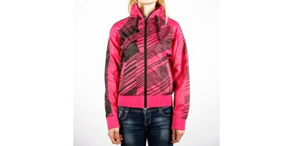 Dámská růžová sportovní bunda Authority s černým potiskem