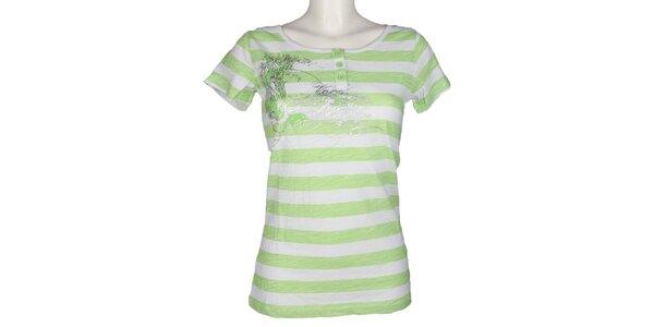 Dámské zelené pruhované tričko Authority