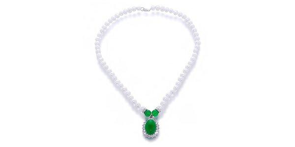Dámský perlový náhrdelník se zeleným malajským nefritem Orchira
