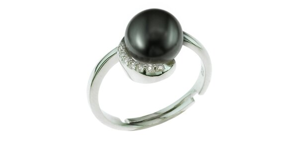 Stříbrný prsten Orchira s černou perlou