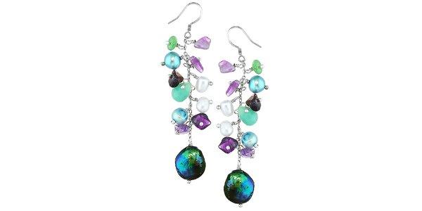 Dámské visací náušnice Orchira s barevnými perlami