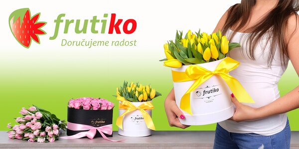 Dárková krabice krásných čerstvých květin