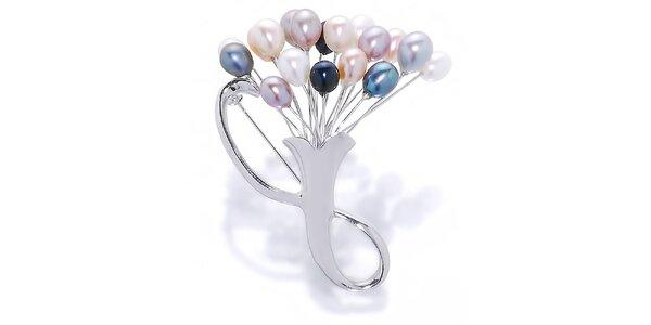 Dámská brož Orchira s barevnými perlami