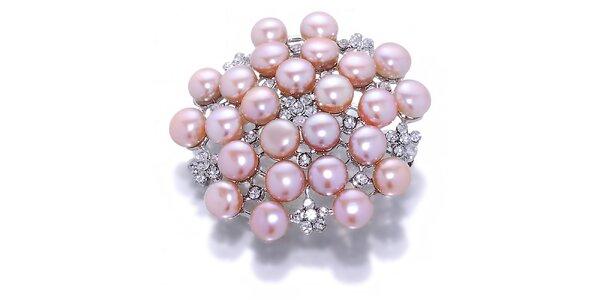 Dámská meruňková perlová brož Orchira