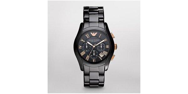 Pánské černo-zlaté keramické hodinky Emporio Armani