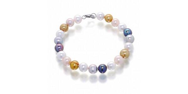 Dámský náramek s bílými, černými a meruňovými perlami Orchira