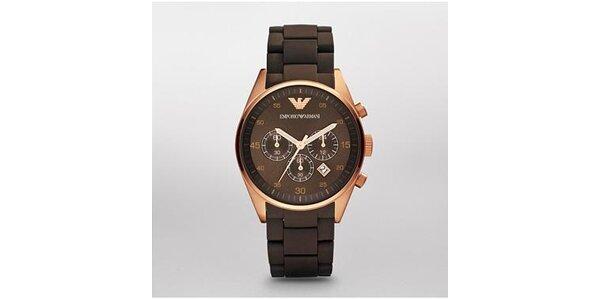 Dámské hnědo-zlaté hodinky Emporio Armani se silikonovým páskem