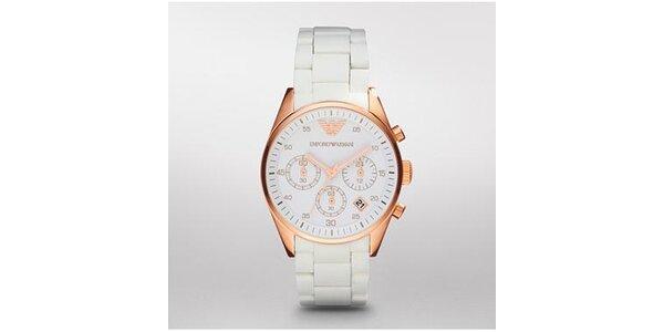 Dámské bílo-zlaté hodinky Emporio Armani se silikonovým páskem