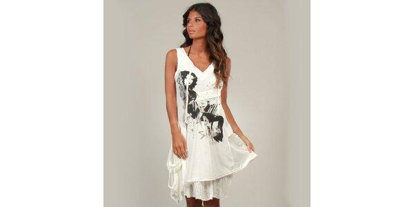 Dámské bílé šaty La Belle Francaise s krajkou a potiskem