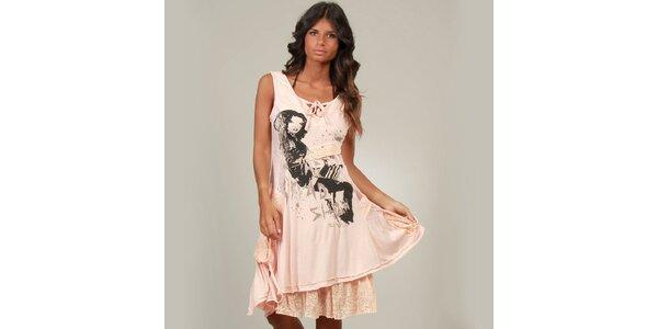 Dámské lososové šaty La Belle Francaise s krajkou a potiskem