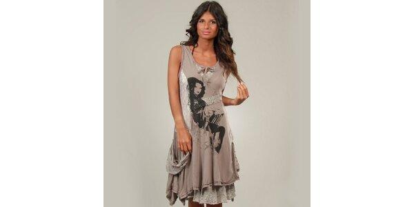 Dámské hnědošedé šaty La Belle Francaise s krajkou a potiskem
