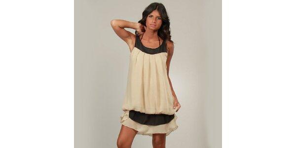 Dámské béžové šaty La Belle Francaise s kanýrem