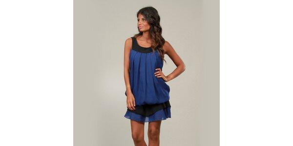 Dámské modré šaty La Belle Francaise s kanýrem