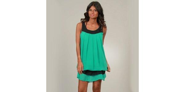 Dámské zelené šaty La Belle Francaise s kanýrem