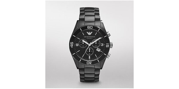 Pánské černé keramické hodinky Emporio Armani