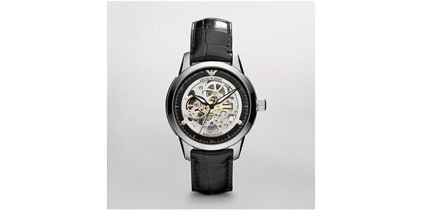 Pánské černo-stříbrné hodinky Emporio Armani s koženým páskem