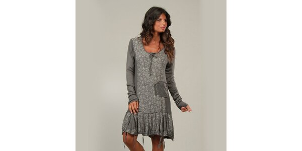 Dámské šedivé šaty La Belle Francaise s třásněmi