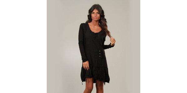 Dámské černé šaty La Belle Francaise s třásněmi