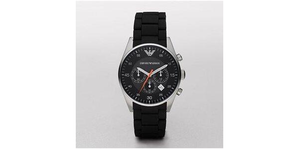 Pánské černo-stříbrné hodinky Emporio Armani se silikonovým páskem