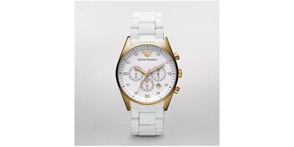 Pánské bílo-zlaté hodinky Emporio Armani se silikonovým páskem