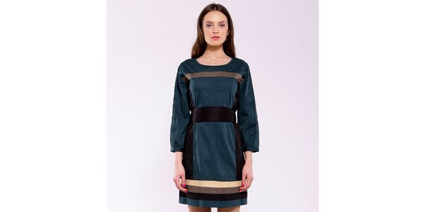 Dámské ocelově modré šaty s béžovými pruhy Almatrichi