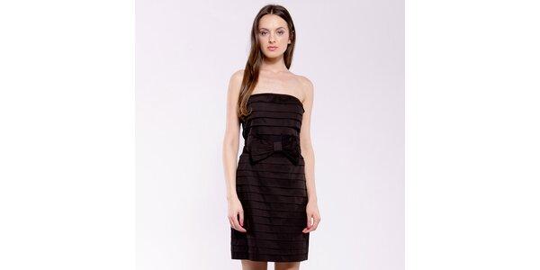 Dámské černé plisované šaty s mašlí Almatrichi