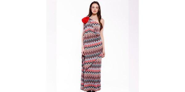 Dámské dlouhé červeno-modré cik cak šaty Almatrichi
