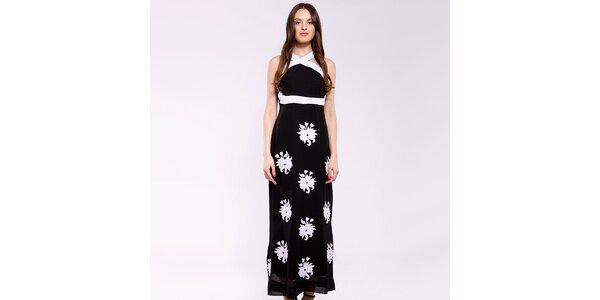 Dámské černo-bílé dlouhé šaty Almatrichi s květinami