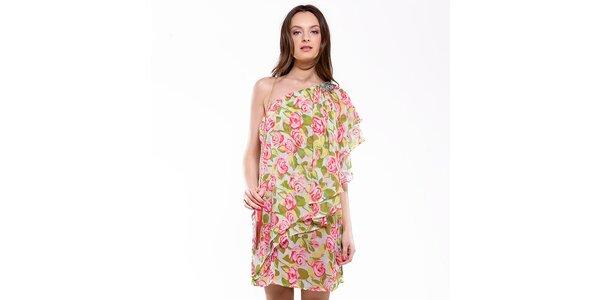 Dámské zeleno-růžové šaty s růžemi Almatrichi