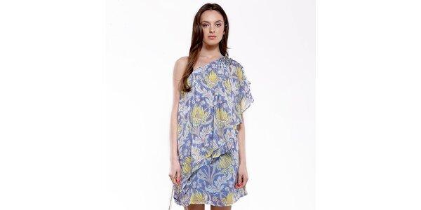 Dámské modro-žluté šaty na jedno rameno Almatrichi
