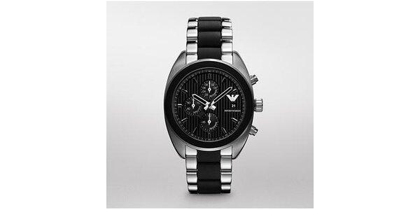 Pánské černo-stříbrné hodinky Emporio Armani