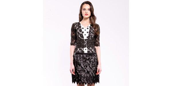 Dámské černo-bílé společenské šaty s krajkou a puntíky Almatrichi