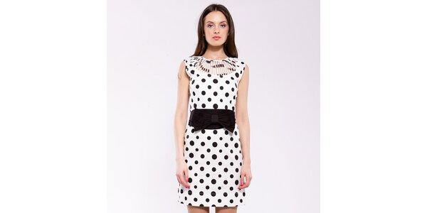 Dámské černo-bílé putníkaté šaty Almatrichi s prostřihy