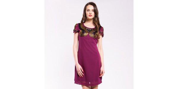 Dámské burgundské šaty s korálkovými aplikacemi Almatrichi